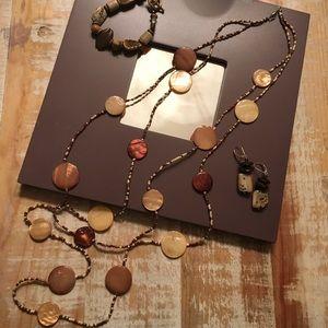 Jewelry - Polished rock quartz necklace, earrings bracelet